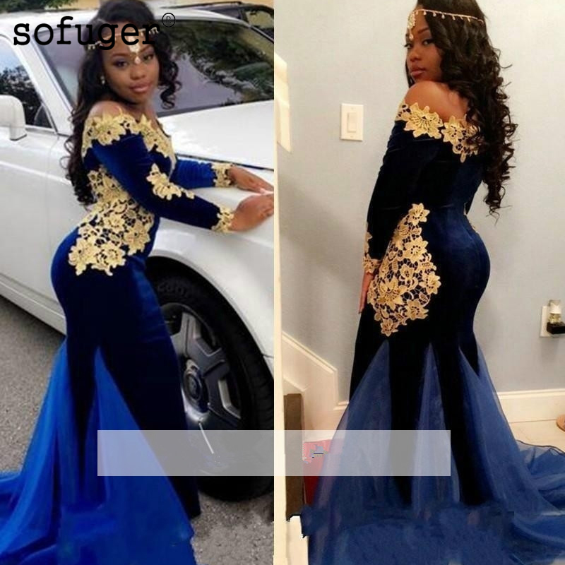 Royal Blue 2019 Prom Dresses Mermaid Long Sleeves Lace Velvet Party Maxys Long Prom Gown Evening