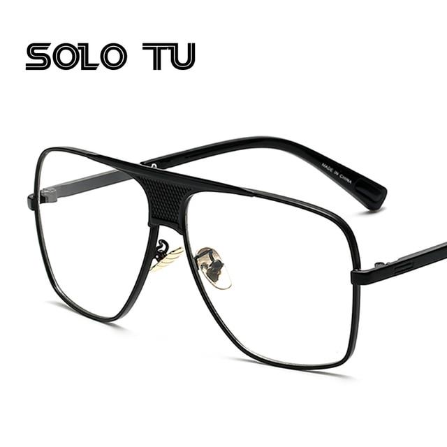 817728165b Flat top men glasses frame branded designer big square metal gold frame  glasses for men optical high quality lunettes