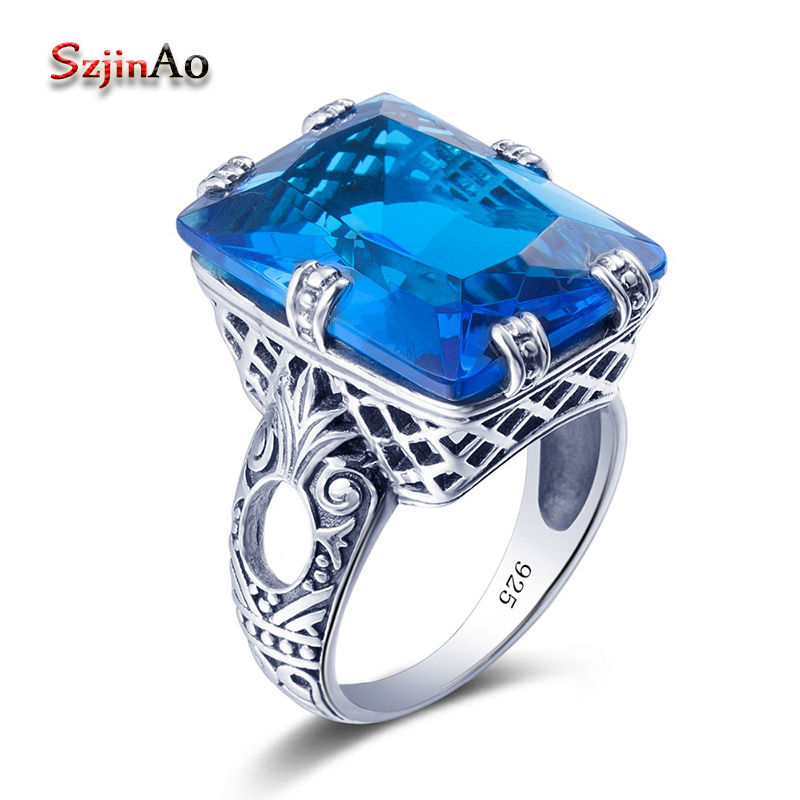 Szjinao Brand New Women Rings Blue Crystal Jewelry Hollow Out Design Genuine 925 Silver Rings for