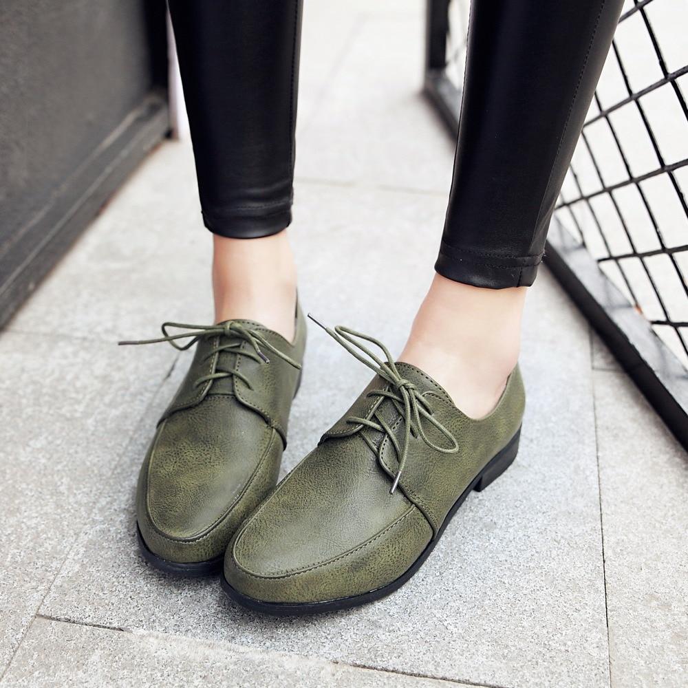 Printemps Automne Oxford brown Femmes Up Black Rétro Noir 2018 Appartements En Cuir Vert Chaussures Dames Femme green Kebeiority De Dentelle trQdCsh