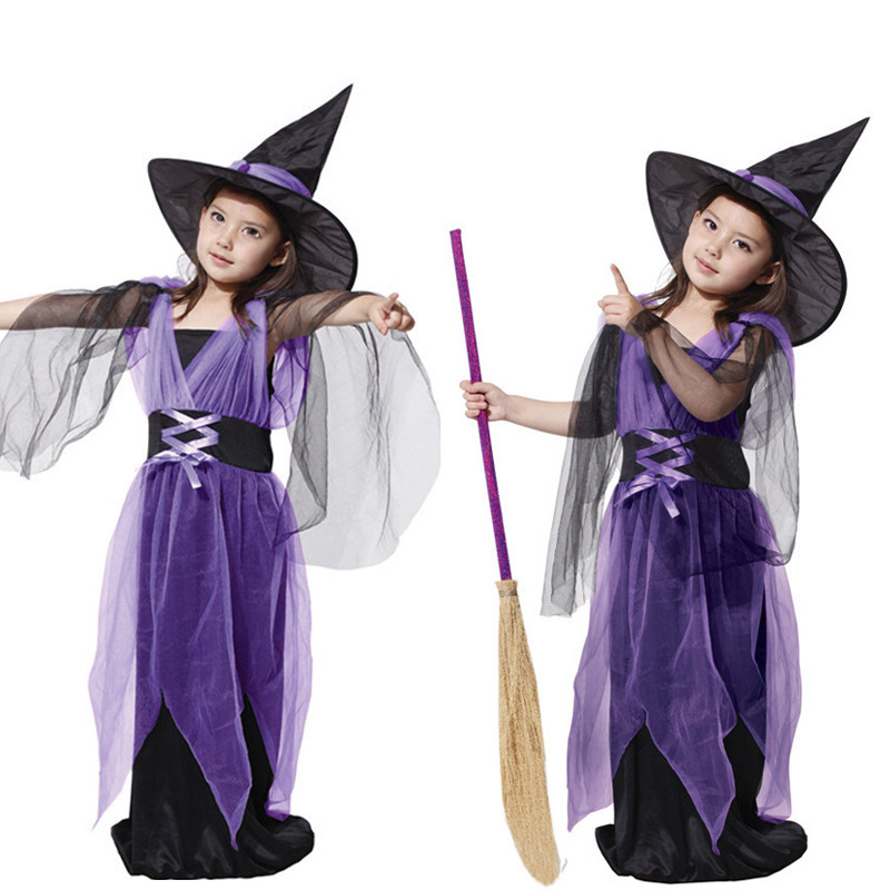 Cosplay Halloween Costumes Girls Witch Dress Suit  Party Masquerade Supplies Fancy Mesh Dresses купить