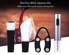 4 teile/los Elektrische Korkenzieher Edelstahl Schnurlose Korkenzieher mit Folienschneider Vakuum Stopper Ausgießer Leicht Gießen Wein