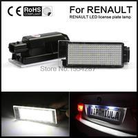 2PCS Error Free LED Number License Plate Lights For Renault Twingo Clio Espace Megane Kombi 5D