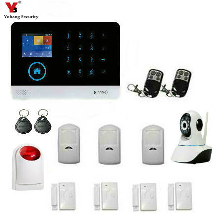 YobangSecurity Wifi Alarm System GSM Wireless Home Burglar Security System With Outdoor Flashing Siren IP Camera Auto Dialer yobangsecurity touch keypad wireless wifi gsm home security burglar alarm system wireless siren wifi ip camera smoke detector