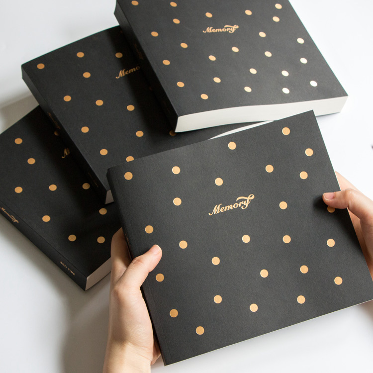 The Memory Theme Golden Dots Fashion Creative Notebook 130 Sheets Blank Paper 2017 New Sketchbook Students Gift Free Shipping sosw fashion anime theme death note cosplay notebook new school large writing journal 20 5cm 14 5cm