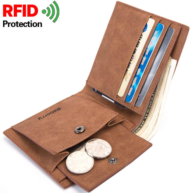 2019 Fashion Rfid Men Wallets Mens Wallet with Coin Bag Zipper Small Mini Wallet Purses New Design Dollar Wallet Slim Money Bag