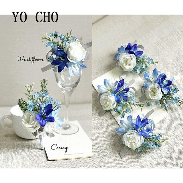 Yo Cho Royal Blue Rose Wrist Corsage Bracelet Hand Flowers Brooch Party Bridal Prom Wedding Decor