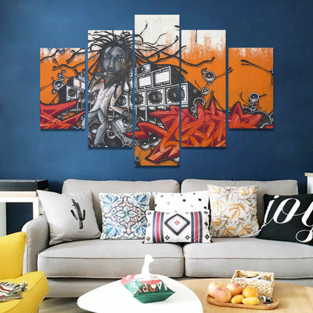 Unframed Canvas Painting Crazy Music Man With A Microphone Sound Prints Wall Pictures For Living Room Wall Art Decoration