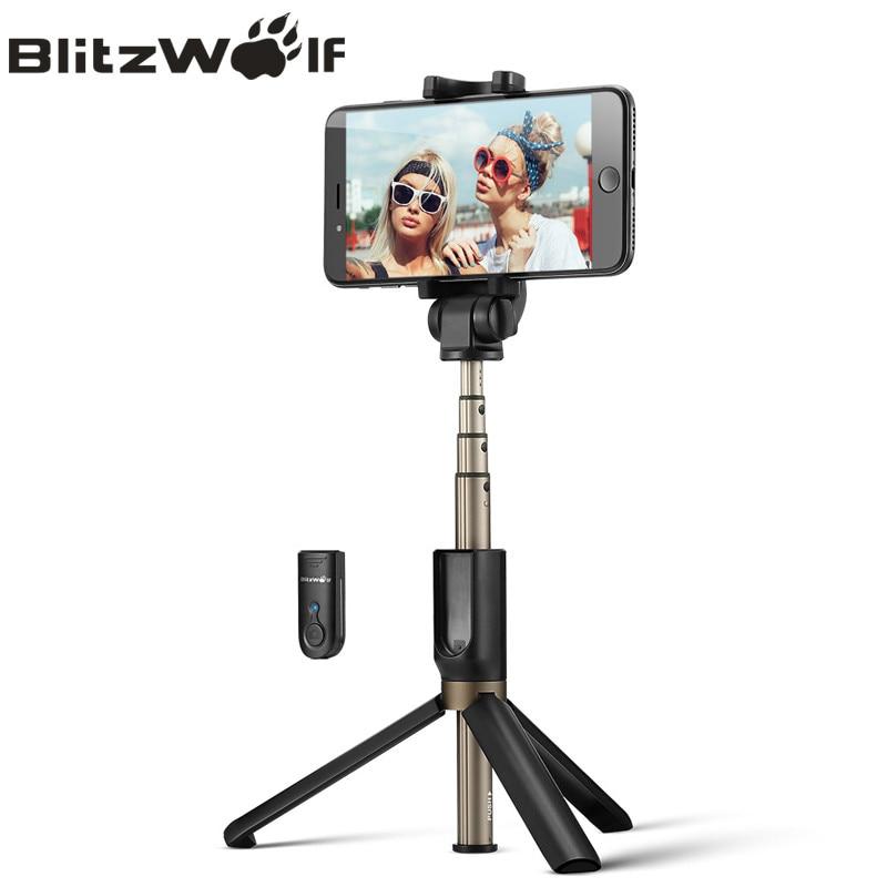 BlitzWolf 3 em 1 Selfie Vara Mini Tripé Extensível Monopé Sem Fio Bluetooth Universal Para iPhone XR X 7 6 s além de Para Samsung