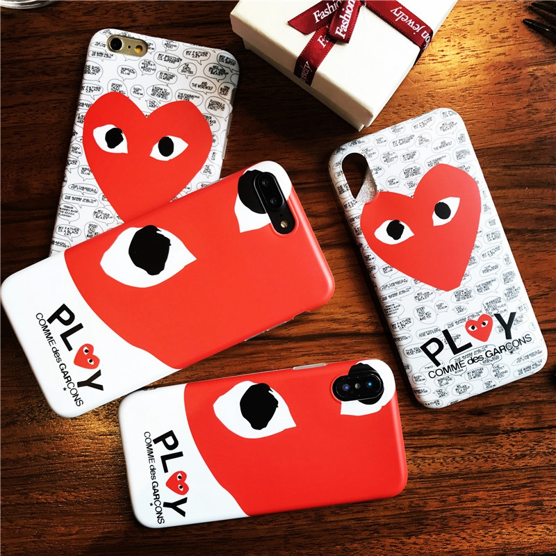 Popular Japan CDG PLAY Phone Case for iPhone 8 7 6 6s Plus Fashion Comme des Garcons Design Heart Soft IMD Cover for iPhone X 10