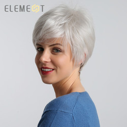 ELEMENT 6 Inch Short Synthetic Wig for Women Left Side Parting White Color Heat Resistant Replacement Hair Wigs High Density