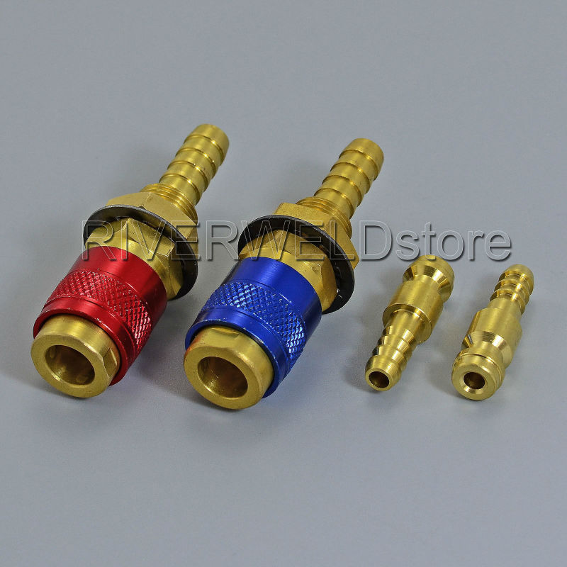 2×Water Cooled /& Gas Adapter Quick Connector Fitting For TIG Welding Torch 8mm