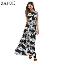 ZAFUL 2016 Women Vintage Retro Floral Print O Neck Sleeveless Floor Length Black Gall Gown Evenig