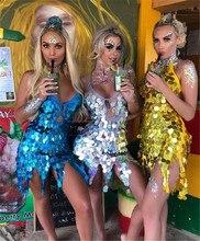 Shiny Vrouwen Latin Dans Jurk Kostuums Asymmetrische Motel Sequin Fringe Munten Keyhole Lace Up Back Bandage Mini Korte Jurk