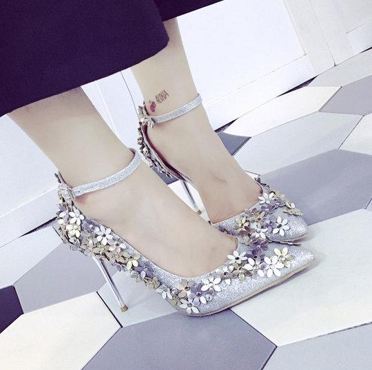 Calzado Bombas Mujer Fino Marca Para Tacón Flor Brillo Zapatos 2017 qwp8Pnxgnf