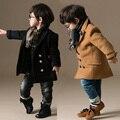 2015 nuevos muchachos del invierno del diseño doble de Breasted de los cabritos sólidos chaqueta abrigos de lana muchachos niños ropa de abrigo BC060