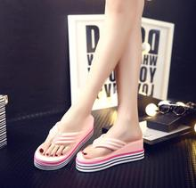 2017 New TPR summer slipper slope with candy-colored flip flop classic fashion women sandals Muffin bottom beach sandals H 3-5cm