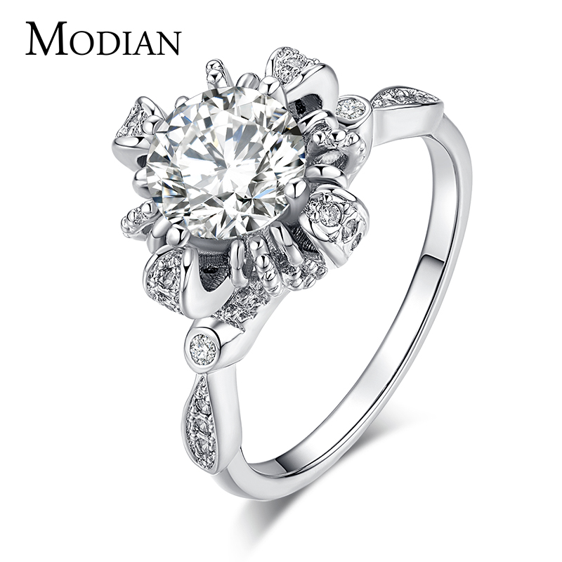 Вища якість модного бренду 5A циркон реального твердого 925 срібного кільця обручки обручки обручальні обручки ювелірні прикраси для жінок