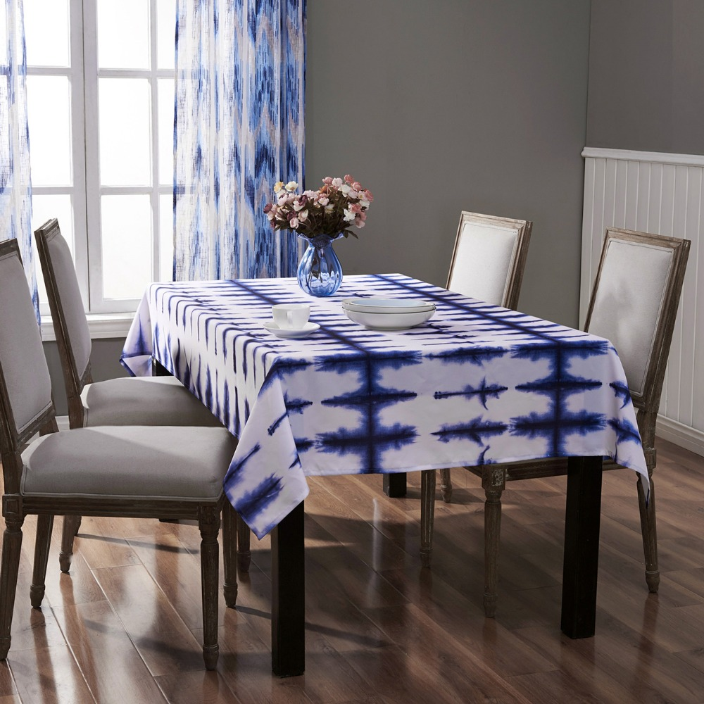 blue ribs flower tablecloth printed white blue tablecloth
