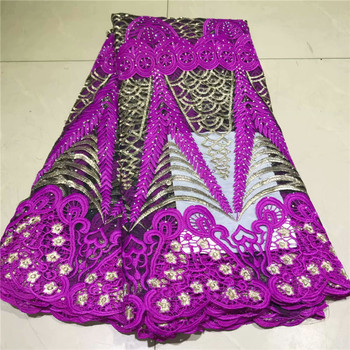 Nigerian High Quality African Tulle Lace Fabric 2019 New Design Embroidery Tulle Lace Fabric With Stones For Dresses 2l3065-2367