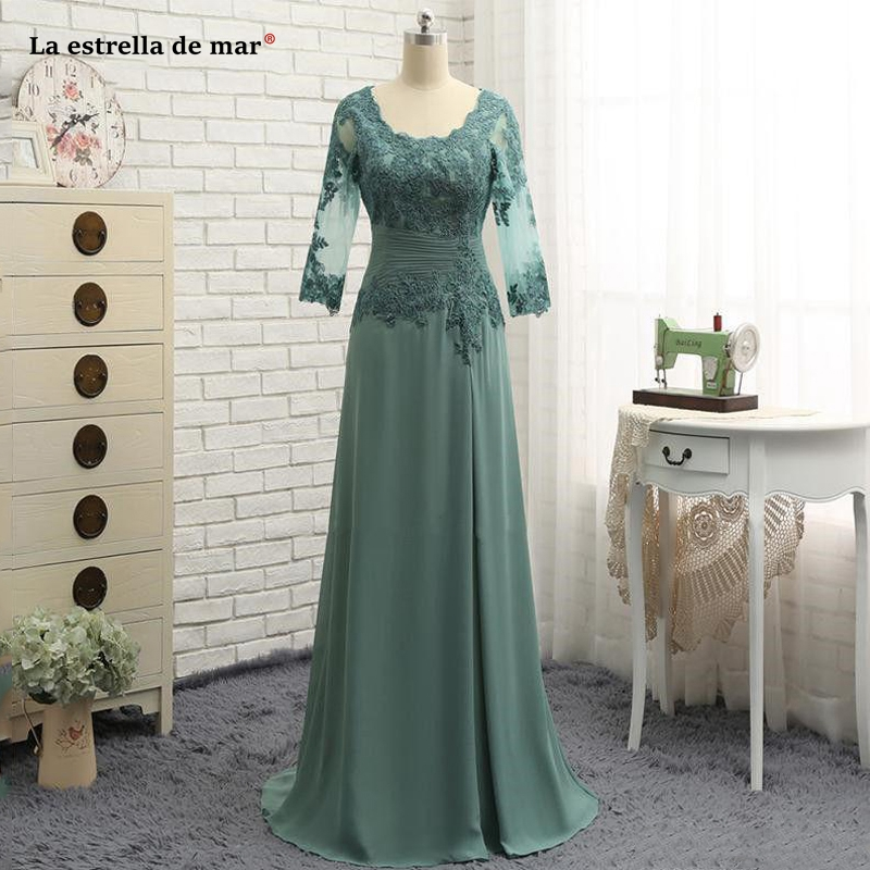 Abito Mamma Sposa2019 New Scoop Neck Lace Chiffon 3/4 Sleeve A Line Green Mother Of The Bride Dresses Floor Length Vestidos Boda
