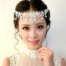 Элегантные украшения на лоб, свадебные женские украшения с кристаллами, повязка на голову, кружевная Цветочная Свадебная жемчужная бижутерия, свадебная диадема, аксессуары