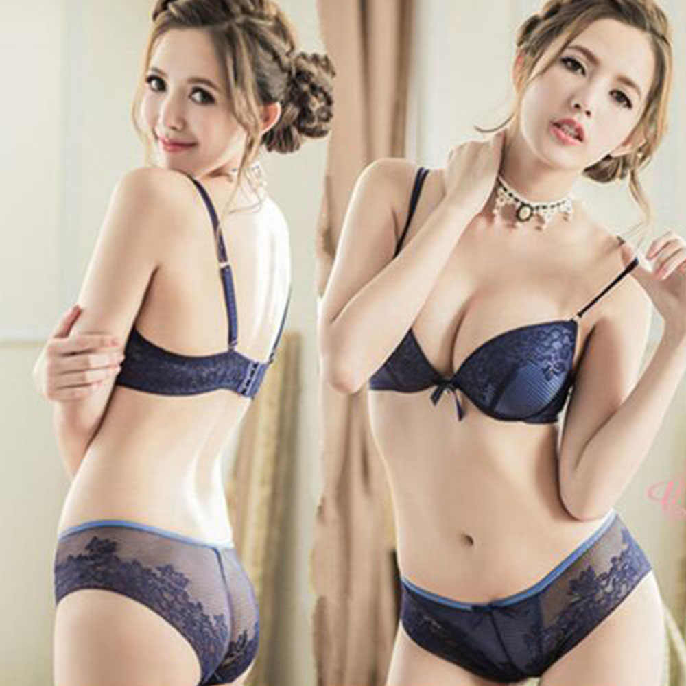 7557bfb92e Hot Top Sexy Womens Lingerie Set Thin Deep V-neck push up Bra Bralette Lace