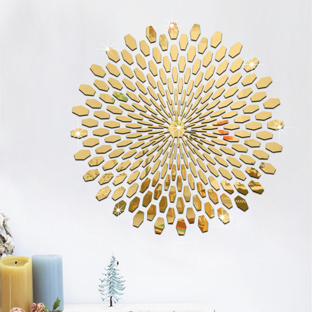 1 set fashion silver gold diy 3d acrylic mirror surface wall stickers round shape abstract pattern