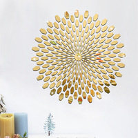 Fashion Silver Gold DIY 3D Acrylic Mirror Surface Wall Stickers Round Shape Abstract Pattern DIY Home