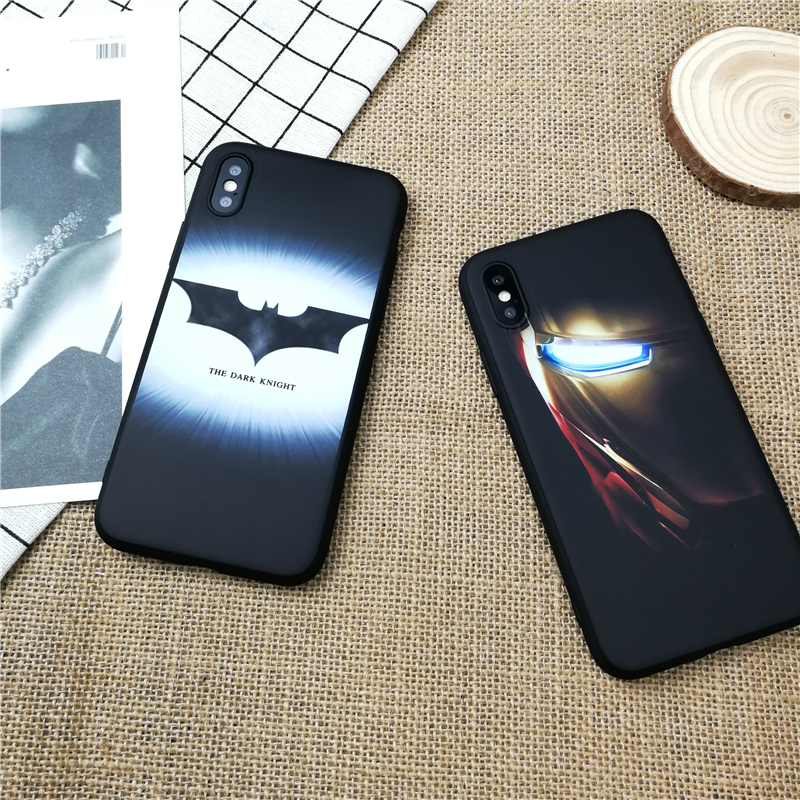 Luminous Marvel iron Man Batman for iphone X XS MAX XR 10 8 7 6 6s plus soft matte luxury silicone phone cover coque fundas in Fitted Cases from Cellphones Telecommunications