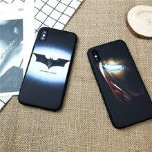 Luminous Marvel iron Man Batman for iphone X XS MAX XR 10 8 7 6 6s plus soft matte luxury silicone  phone cover coque fundas