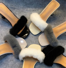 Korean version of rabbit hair thick with fish head high-heeled slippers plush female summer sandals and slippers SUB2063
