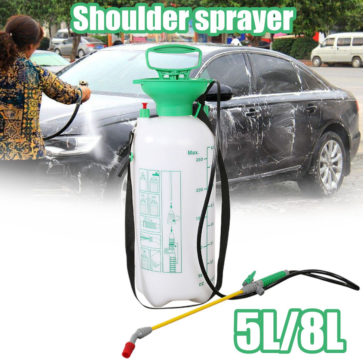 Portable 8L/5L Car Washing Pressure Spray Pot Auto Clean Pump Sprayer Bottle Pressurized Spray Bottle High Corrosion Resistance