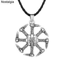 Nostalgia Slavic Kolovrat Swords Pagan Jewelry Russia Star Svarog Talisman Amulet Pendants Necklaces
