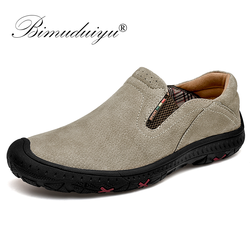 BIMUDUIYU Brand Genuine   Leather   Loafers Casual Men Shoes Breathable Male Designer Sneakers Waterproof Moccasins Slip on Shoes