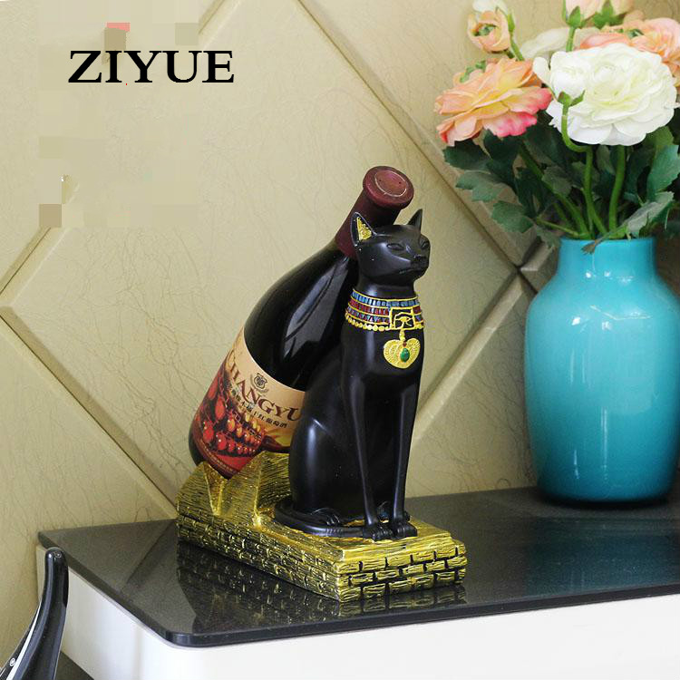 Free Shipping Bastet Egyptian Cat God Theroom Resin Wine Rack Holders Creative Home Decorations hot sale european style resin phoenix wine rack high end home accessories bar wine rack wholesale
