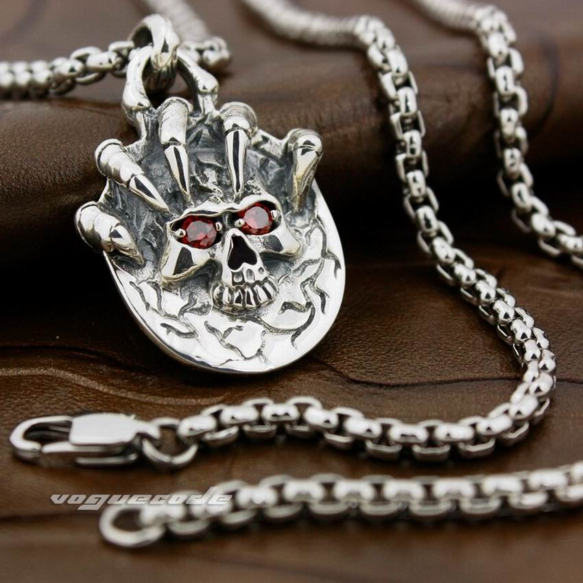 Solid 925 Sterling Silver Claw Skull Red CZ Eyes Mens Biker Pendant 8X017 (Necklace 24inch) solid 925 sterling silver claw skull mens biker pendant biker jewellery 8c007 necklace 24inch