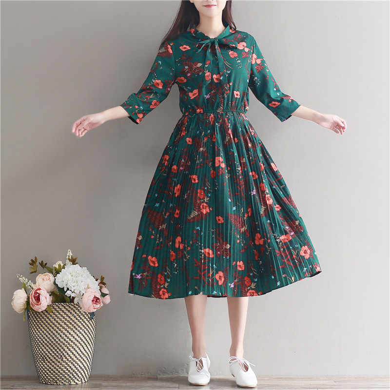 9a87bac1785 ... Maternity dress Retro Floral Print Long Chiffon Pleated Dresses 2018  Spring Summer Pregnant Women pregnancy Flowers ...