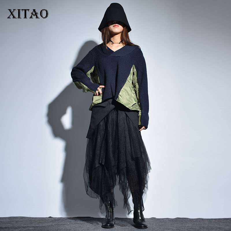 XITAO Ruched Fashion New Women 2019 Spring Summer Patchwork Loose V neck Full Sleeve Pullover