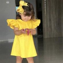Летнее однотонное платье с бантом и рукавами-крылышками для маленьких девочек; платья для девочек; элегантные Детские платья для девочек; костюм для детей