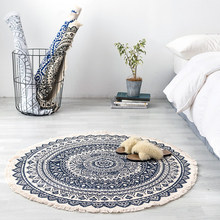 Nordic Modern Cotton Linen Retro Round Carpet Bedroom Living Room Sofa Coffee Table Bed Blanket Mats Machine Washable nordic style large carpet living room sofa coffee table blanket simple modern bedroom room household machine washable