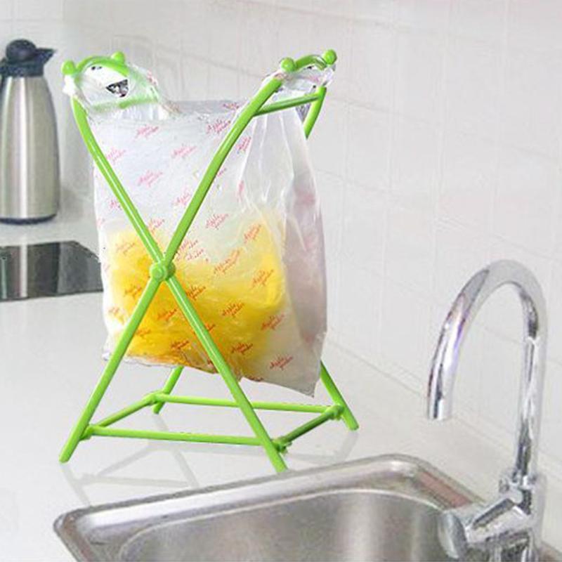 1PC Folding X-type Garbage Bag Hanging Rack Portable Trash Can Holder Home Kitchen Useful Storage Rack