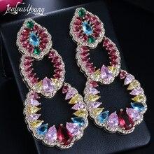Luxury Water Drop Cubic Zirconia Party Wedding Drop Earrings India Africa Multicolor Fashion Jewelry Big Dangle Bride Earrings