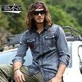 Длинными рукавами джинсовые рубашки мужчины slim-подходят весна лето мужская свободного покроя ретро свет мыть Camisa - джинсовая одежда - хомбре совершенно - одежда A786