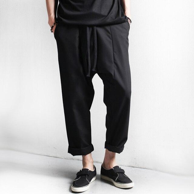 Men Wide Leg Harem Pants Ankle Length Capris 2017 Spring New Male Black Drop Crotch Pants Free Shipping