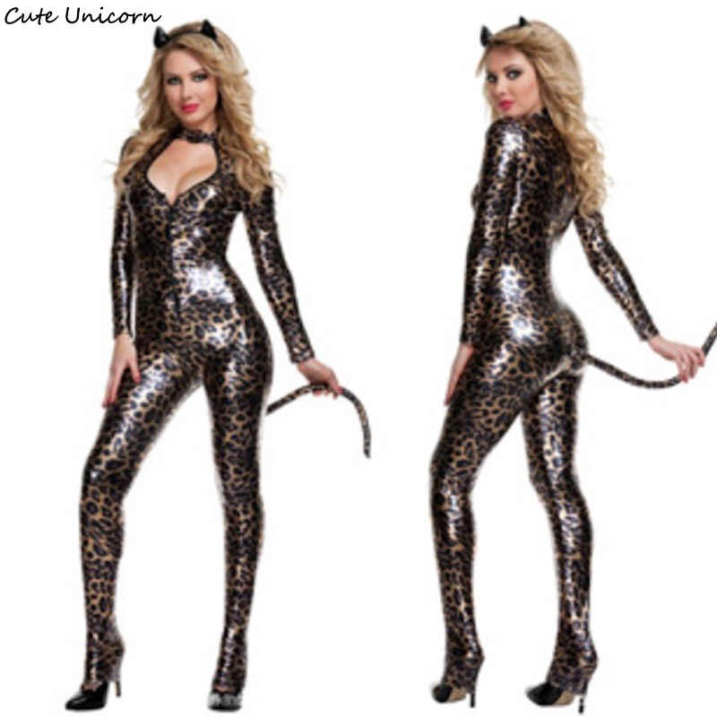 c6c0643a719 Women Sexy Leather Leopard Cat Cosplay Costume Ladies Role Play Costumes  Halloween party sexy dress DS