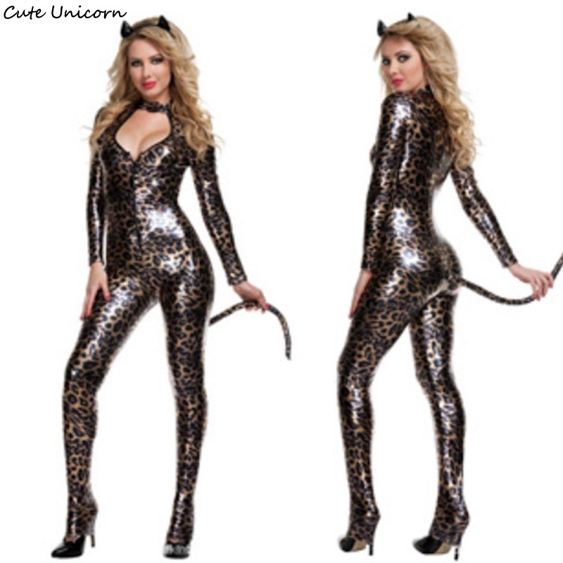 Women Sexy Leather Leopard Cat Cosplay Costume Ladies Role Play Costumes Halloween Party Sexy Dress DS