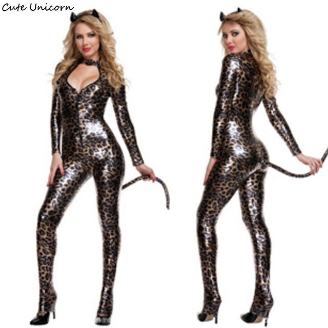 Women Sexy Leather Leopard Cat Cosplay Costume Ladies Role Play ...