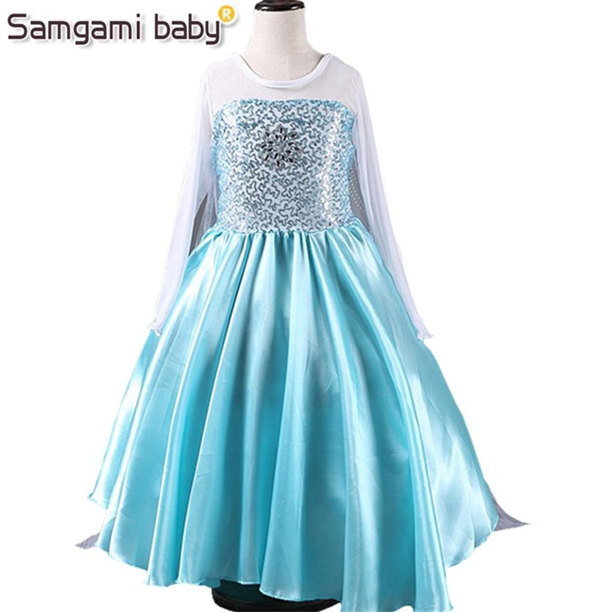 SAMGAMI BABY 2018 Vestido de niña Elsa y Anna Vestido de princesa Vestido de niña Vestido de gasa de manga larga Vestido de fiesta de niña