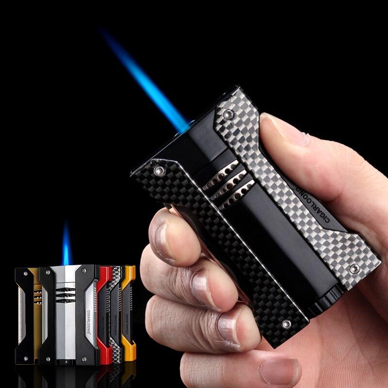 Allume-cigare 6 couleurs en option Portable torche en métal Jet flamme allume-cigare gaz Butane briquet CL-1051